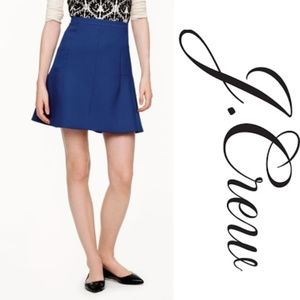 J. Crew Fluted Skirt Royal Blue Double Crepe